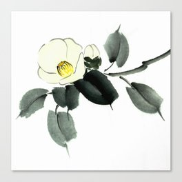 White camellia sumi ink and japanese watercolor painting Canvas Print