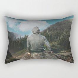 Man and the mountain Rectangular Pillow