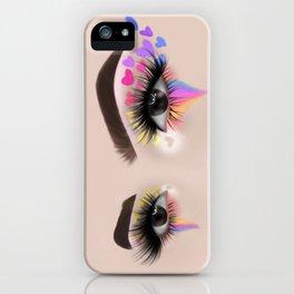 Rainbow Heart Eyeshadow Make-Up Look iPhone Case