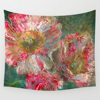 poppies Wall Tapestries featuring poppies by Spinning Daydreams