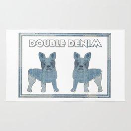 Double Denim French Bulldogs Rug