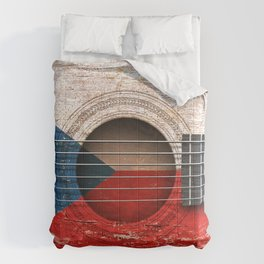 Old Vintage Acoustic Guitar with Czech Flag Comforters