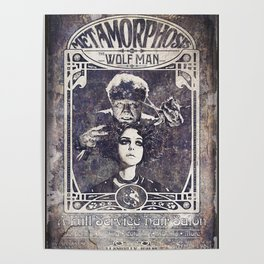Metamorphosis by The Wolf Man: A Full Service Hair Salon (Old Metal Sign) Poster