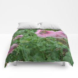 Poppies in rain Comforters