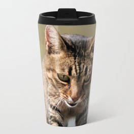 Tabby Cat Looking Down From A Height  Travel Mug