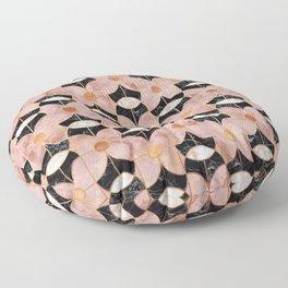 Rose Gold Art Deco Flower Pattern Floor Pillow