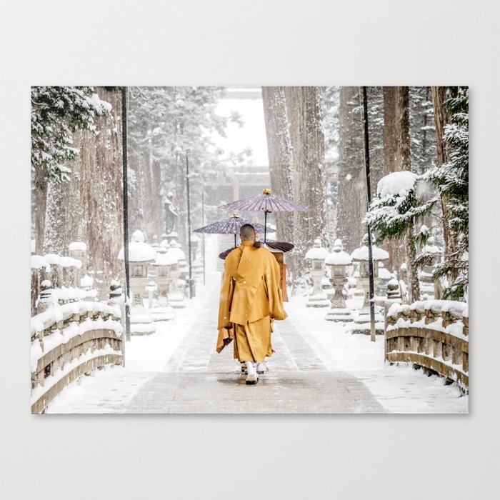 Japanese Buddhist Monks in Winter Canvas Print