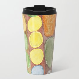 Striped Colorful Pattern with Croissants Travel Mug