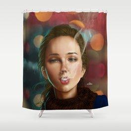 Smoking girl Shower Curtain