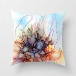 Abstract flower. Alcohol ink Throw Pillow