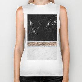 Black and White Marble Gold Glitter Stripe Glam #1 #minimal #decor #art #society6 Biker Tank
