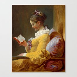 """Jean-Honoré Fragonard """"Young Girl Reading, or The Reader (French: La Liseuse)"""" Canvas Print"""
