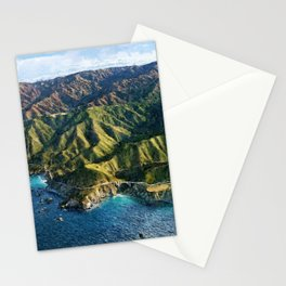 Pacific Coast Highway, Coastal California Santa Lucia Mountains landscape painting Stationery Cards