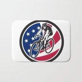 American Cyclist Cycling USA Flag Icon Bath Mat