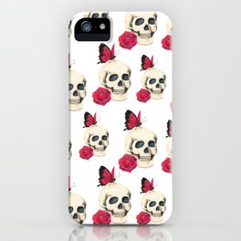 Skull, red rose and red butterfly iPhone Case