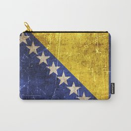 Vintage Aged and Scratched Bosnian Flag Carry-All Pouch