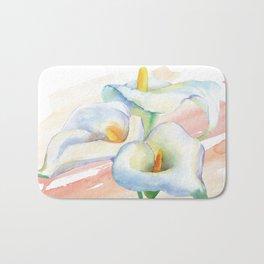 Calla lily Watercolor Bouquet Bath Mat