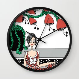 She's on the Steps Wall Clock
