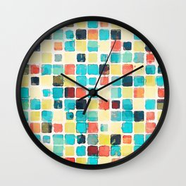 Geometric Abstract Watercolor Wall Clock