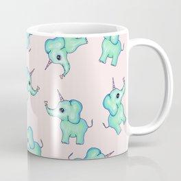 Cute Mythical Girly Unicorn Elephants and Hearts Illustration Coffee Mug