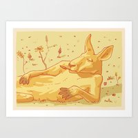 kangaroo Art Prints featuring Kangaroo by - OP -
