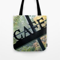 cafe Tote Bags featuring Cafe by Kasia Wo