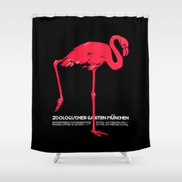 Vintage Pink flamingo Munich Zoo travel ad Shower Curtain