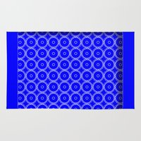 blueprint Area & Throw Rugs featuring Interlocking Cogs Pattern Blueprint by StuC42