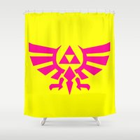 triforce Shower Curtains featuring Contrast Triforce by Rebekhaart