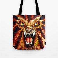 werewolf Tote Bags featuring Werewolf by BluedarkArt