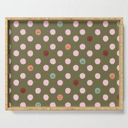 Sad Polka Dots Green Multi Color Serving Tray