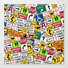 Street Signs Collage Canvas Print