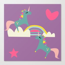 unicorn and rainbow purple Canvas Print