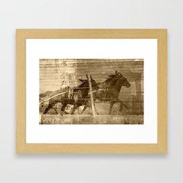 Sepia Harness Race Framed Art Print