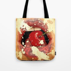 Red Cherry Lips Tote Bag