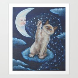 The cat the Moon and the Stars Tale Art Print