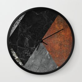 Marble, Granite, Rusted Iron Abstract Wall Clock
