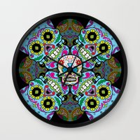 sugar skulls Wall Clocks featuring Sugar Skulls by Spooky Dooky