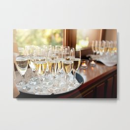 Wedding banquet champagne glasses Metal Print