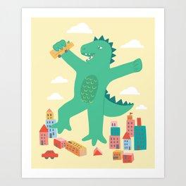 Baby Kaiju Scaley Art Print
