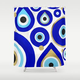 Evil Eye Charms on White Shower Curtain