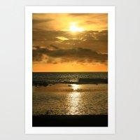 hawaiian Art Prints featuring Hawaiian Sunset by Just Wright Photos