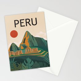 Peru travel poster Stationery Cards