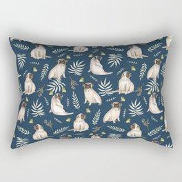 Pugs and butterflies. Blue pattern Rectangular Pillow
