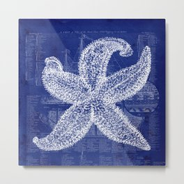 Vintage Starfish Blueprint Metal Print