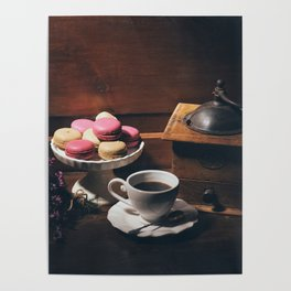 Vintage still life with coffee items Poster