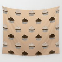 cupcakes Wall Tapestries featuring Chocolate Cupcakes by Danielle Davis