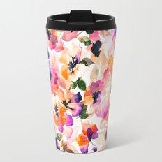 Chic Floral Pattern Pink Orange Pastel Watercolor Travel Mug