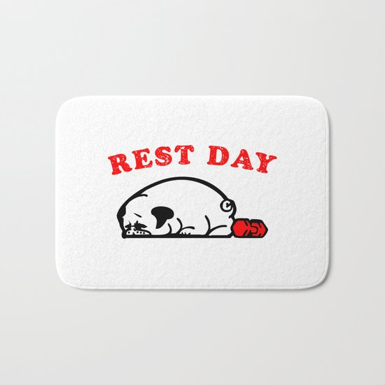 Rest Day Pug Bath Mat