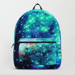 Colorful Teal Galaxy Sparkle Stars Backpack